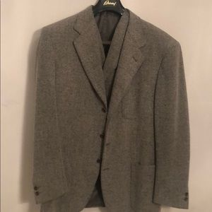 Italian jacket & vest combo; wool blend, clean